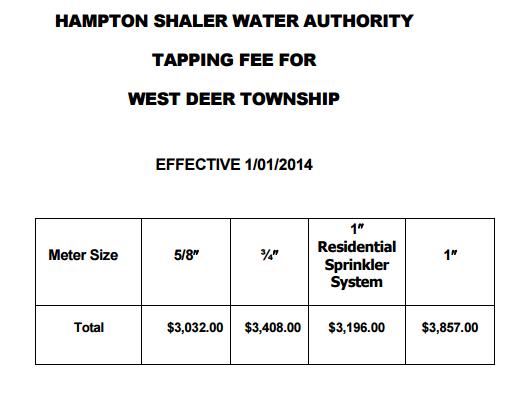 west deer tap fees